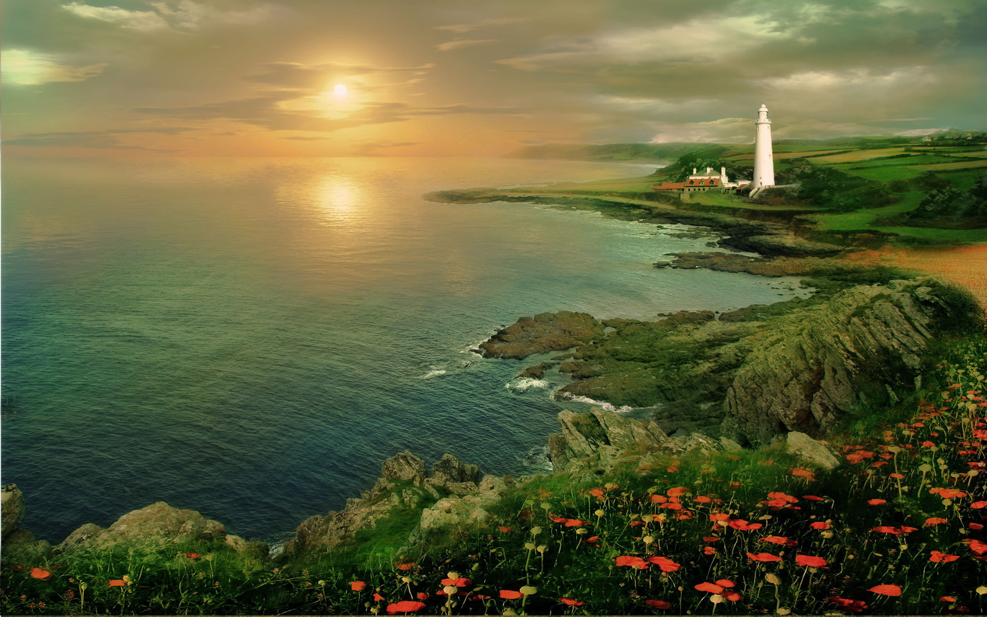 Man Made - Lighthouse  Painting Ocean Coast Wallpaper