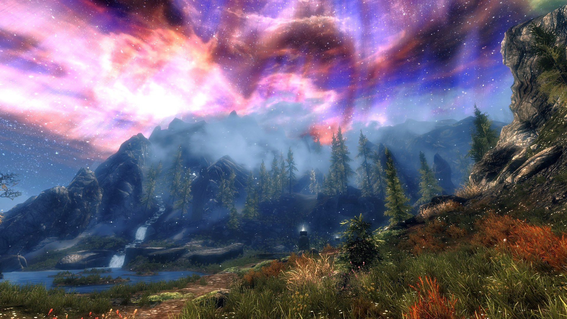 The elder scrolls v skyrim full hd sfondo and sfondo for Aurora boreale sfondo