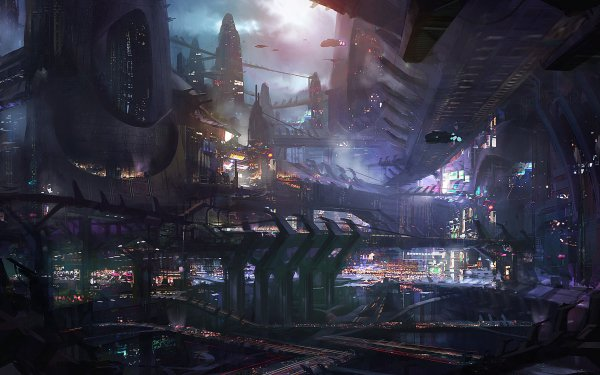 Sci Fi City Spaceport Vehicle HD Wallpaper | Background Image
