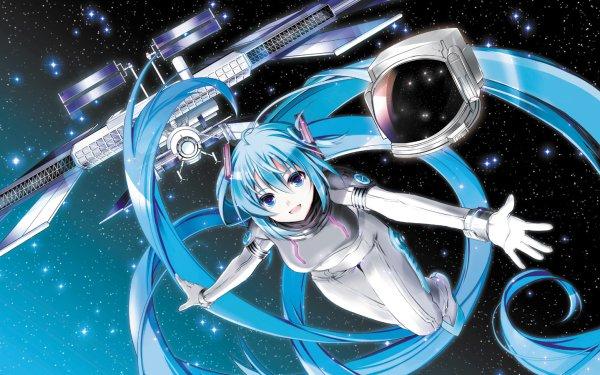 Anime Vocaloid Hatsune Miku Espace Falling Fond d'écran HD | Arrière-Plan