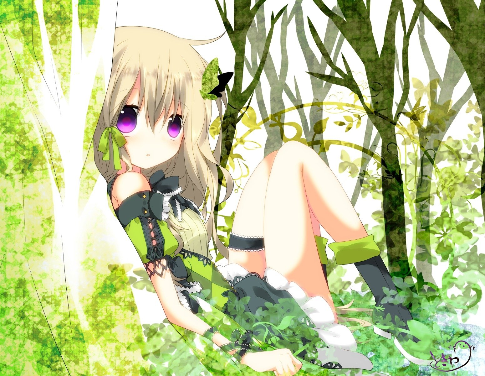 Anime - Unknown  Forest Green Dress Butterfly Blonde Purple Eyes Wallpaper