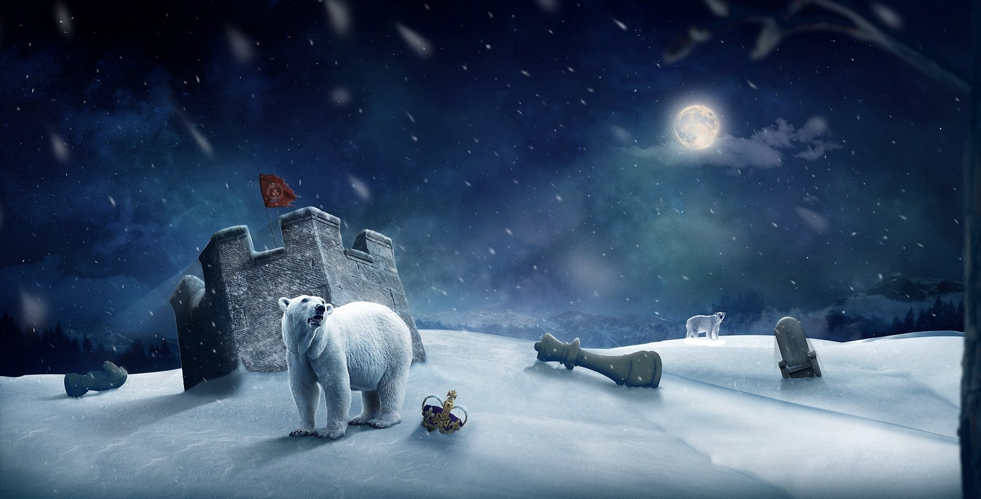 Game - Chess  Polar Bear Animal Winter Wallpaper