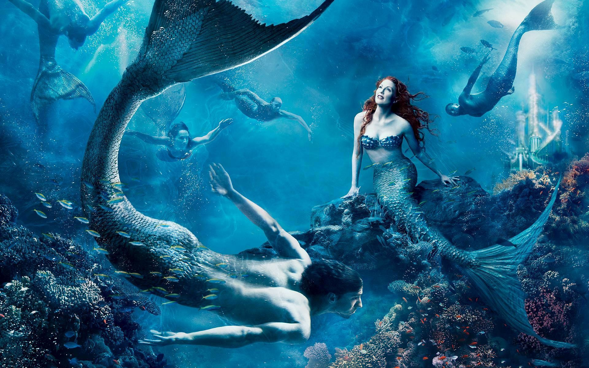 Fantasy - Mermaid  Fantasy Berühmtheiten Julianne Moore Blau Wallpaper