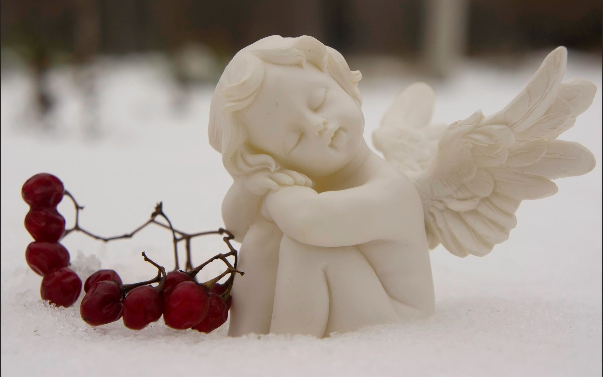 Photography - Artistic  Fantasy Angel Cute Snow Winter Wallpaper
