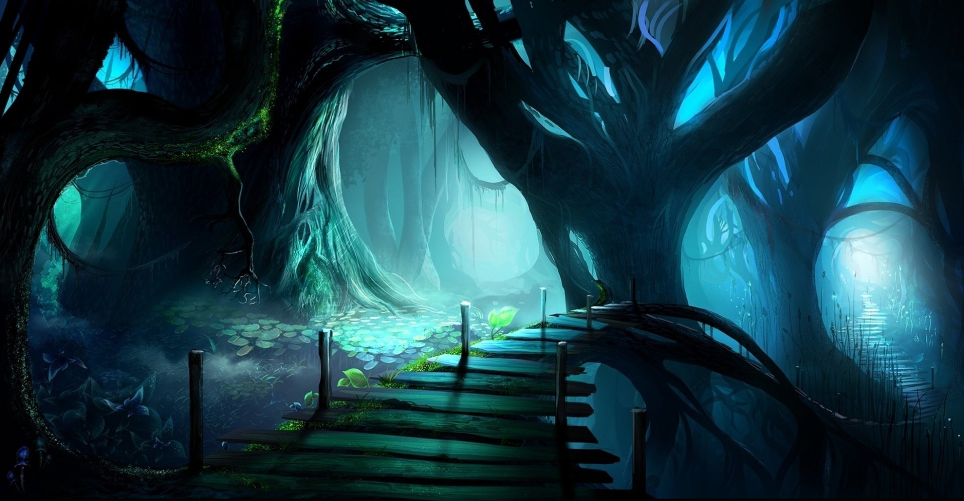 Fantasy - Forest  Tree Spooky Dark Bridge Wallpaper