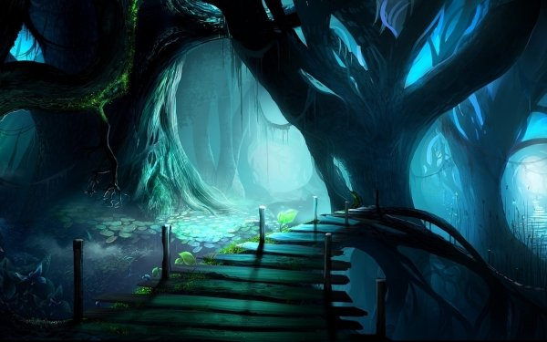 Fantasy Forest Tree Spooky Dark Bridge HD Wallpaper | Background Image