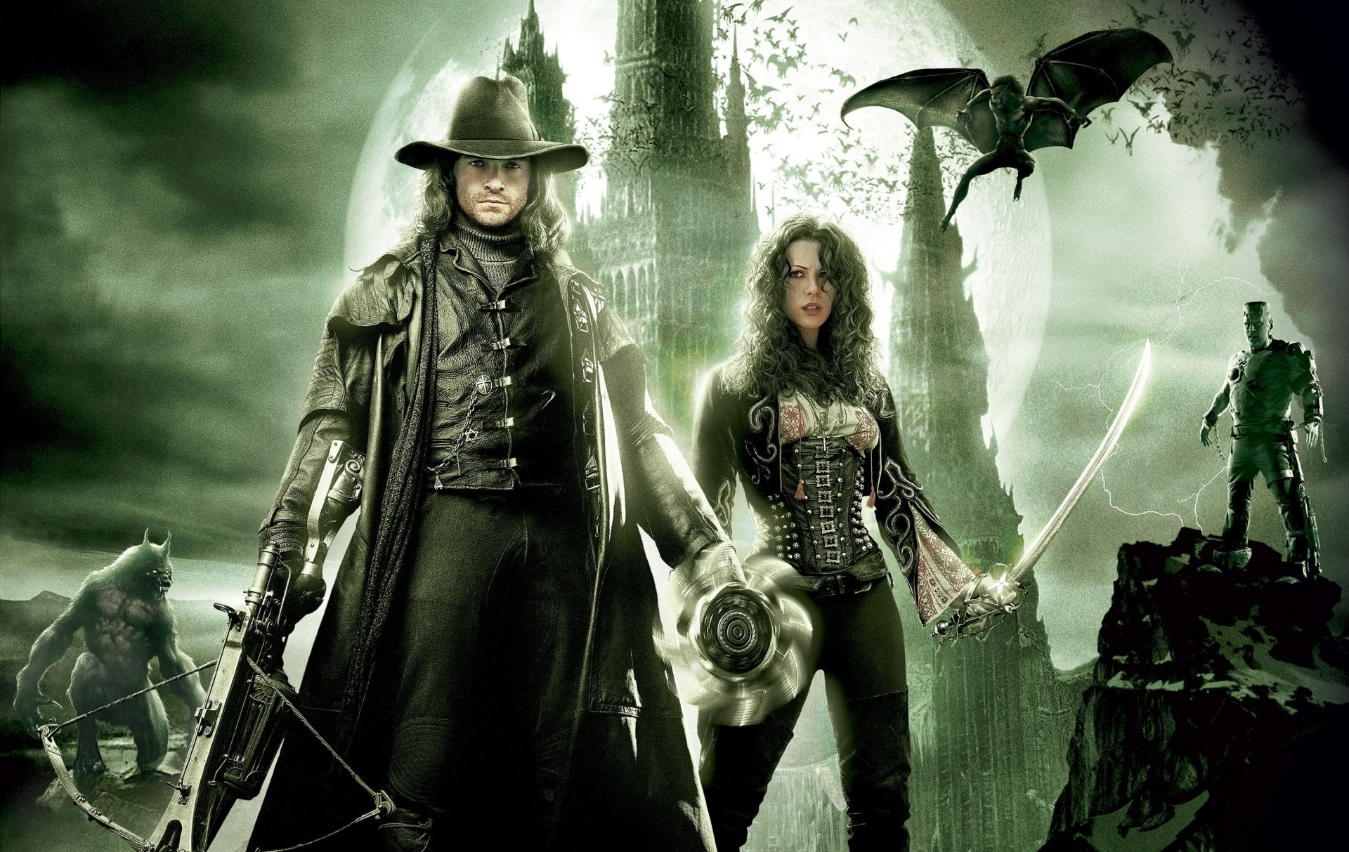 Movie - Van Helsing  Hugh Jackman Anna Valerious Kate Beckinsale Wallpaper