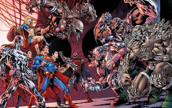 Comics Superman Supergirl Doomsday Steel Cyborg Superman Superboy HD Wallpaper   Background Image
