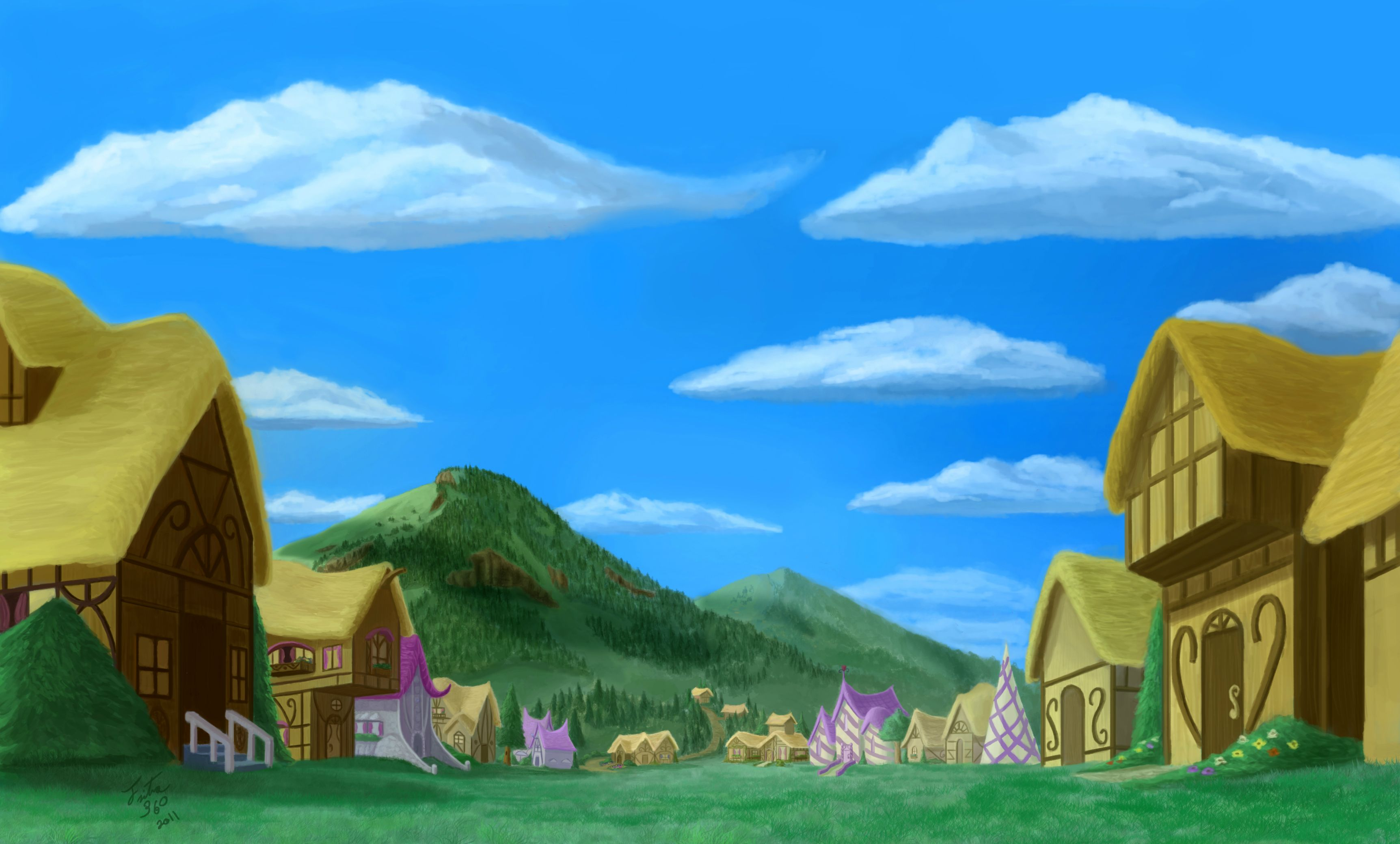 The small town of ponyville full hd wallpaper and - Art village wallpaper ...