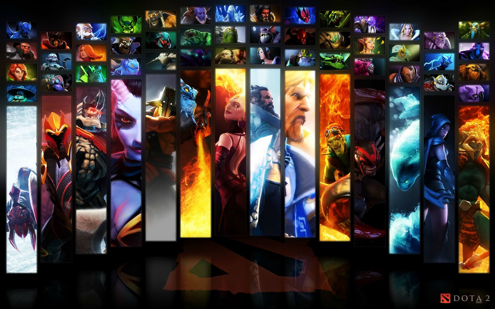 Dota 2 All Heroes Wallpaper And Background Image 1600x1000 Id