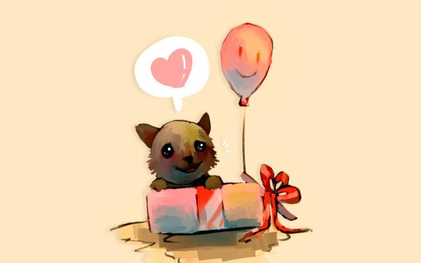 Holiday Birthday Balloon Cute Heart Gift Dog HD Wallpaper | Background Image