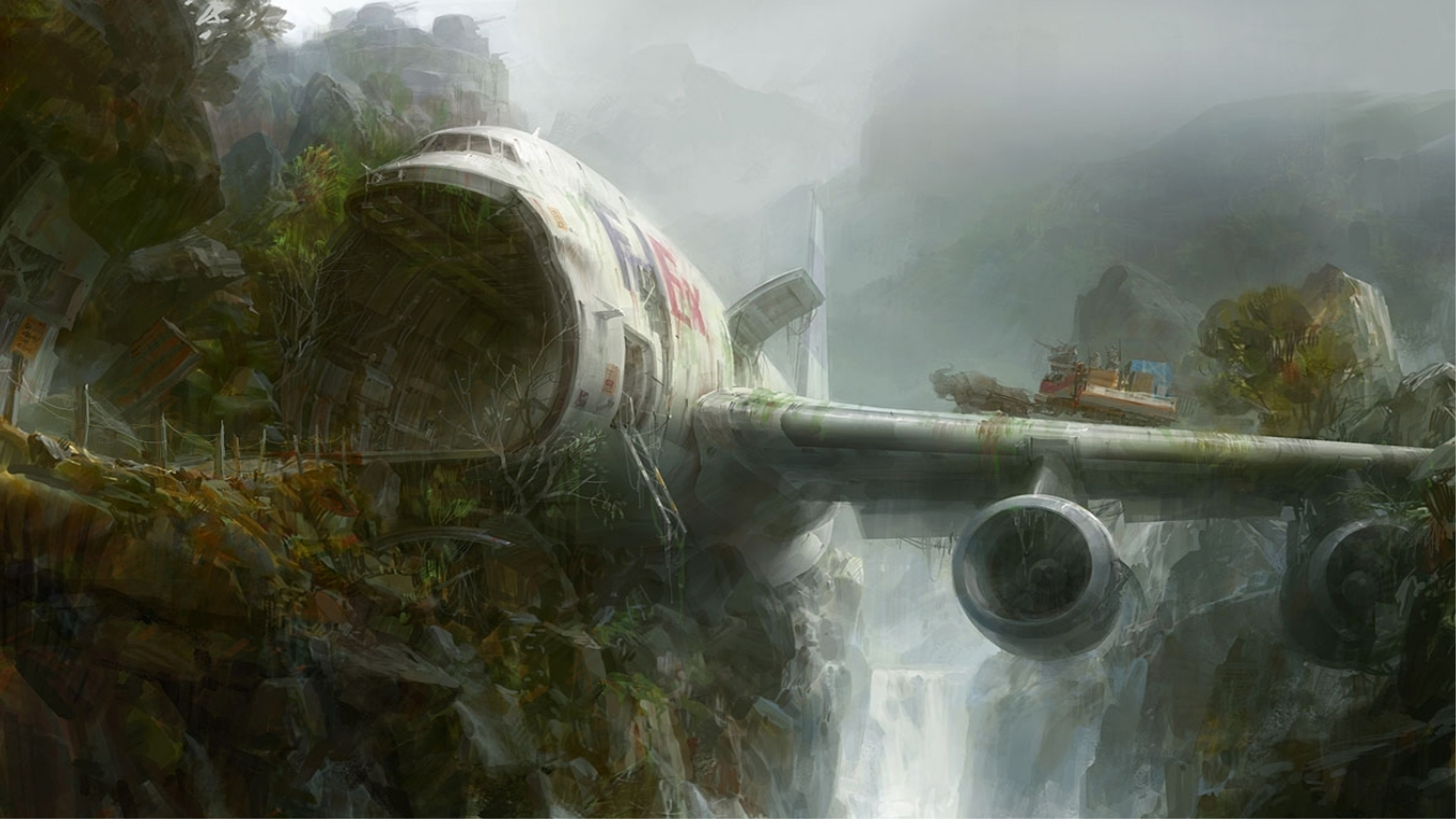 Artistic - Artistic  Painting Fed Ex Airplane Crash Forest Waterfall Aircraft Wallpaper