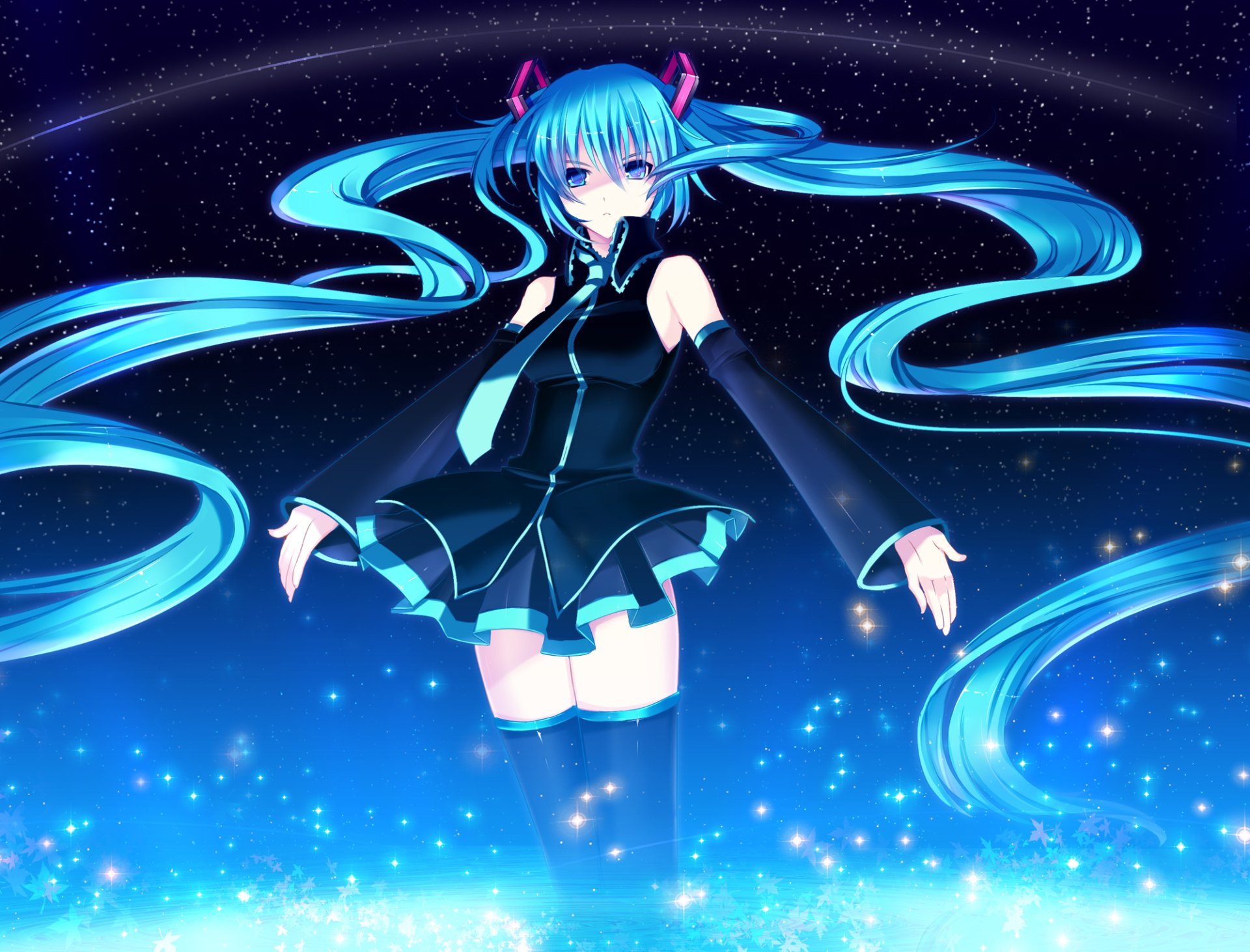 Anime - Vocaloid  Hatsune Miku Sky Night Stars Twintails Aqua Hair Aqua Eyes Skirt Tie Dress Girl Wallpaper