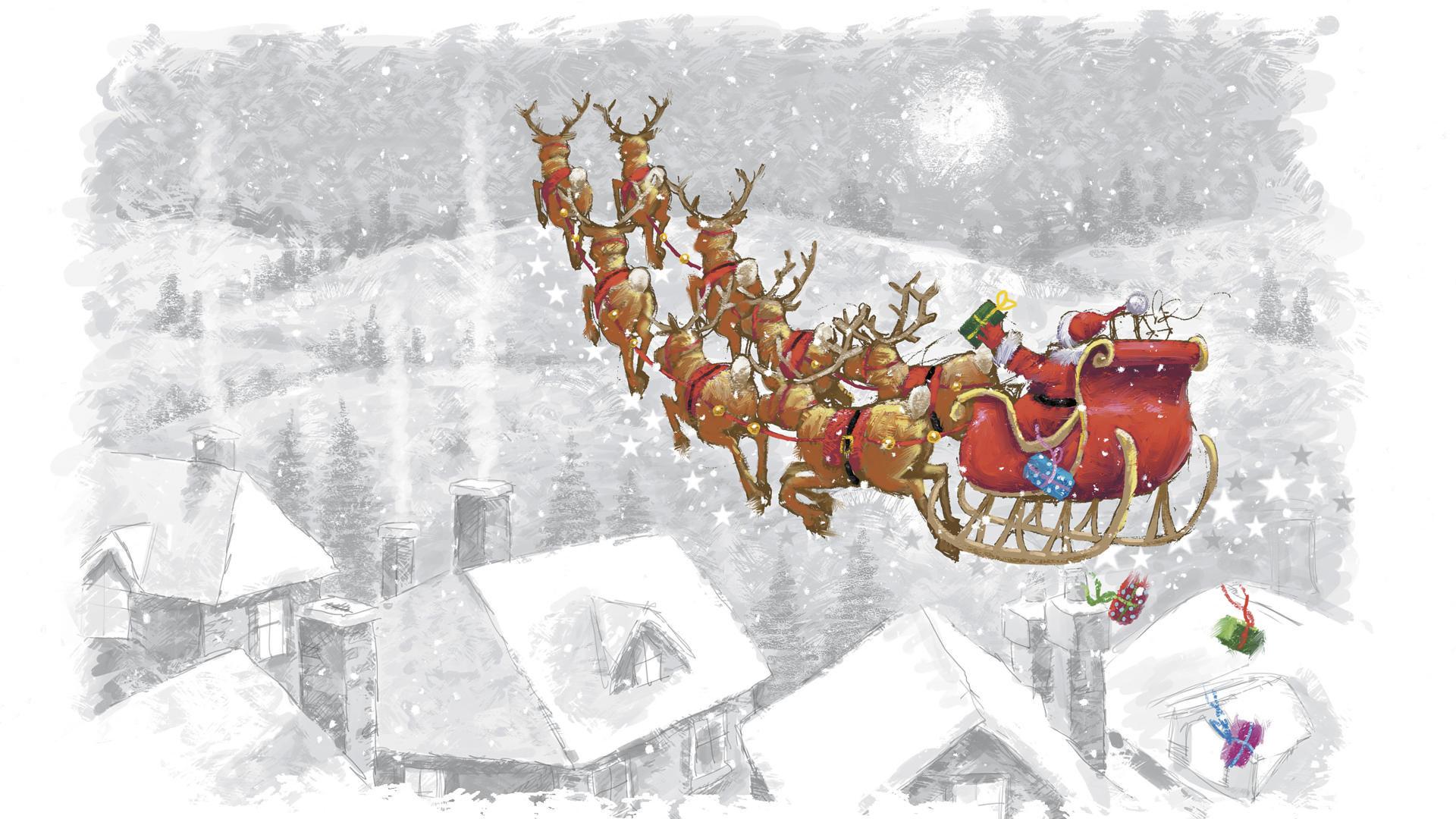 christmas sleigh horses 1920x1080 wallpaper - photo #23