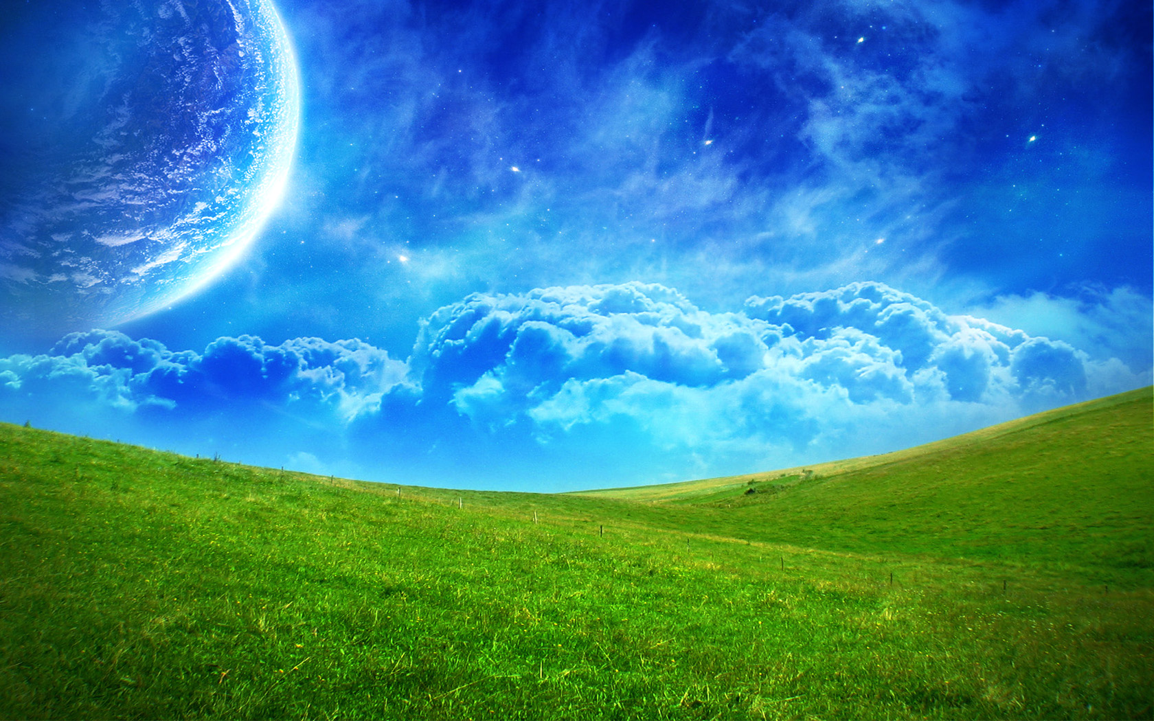 Earth - A Dreamy World  - Landscape - Moon - Clouds Wallpaper