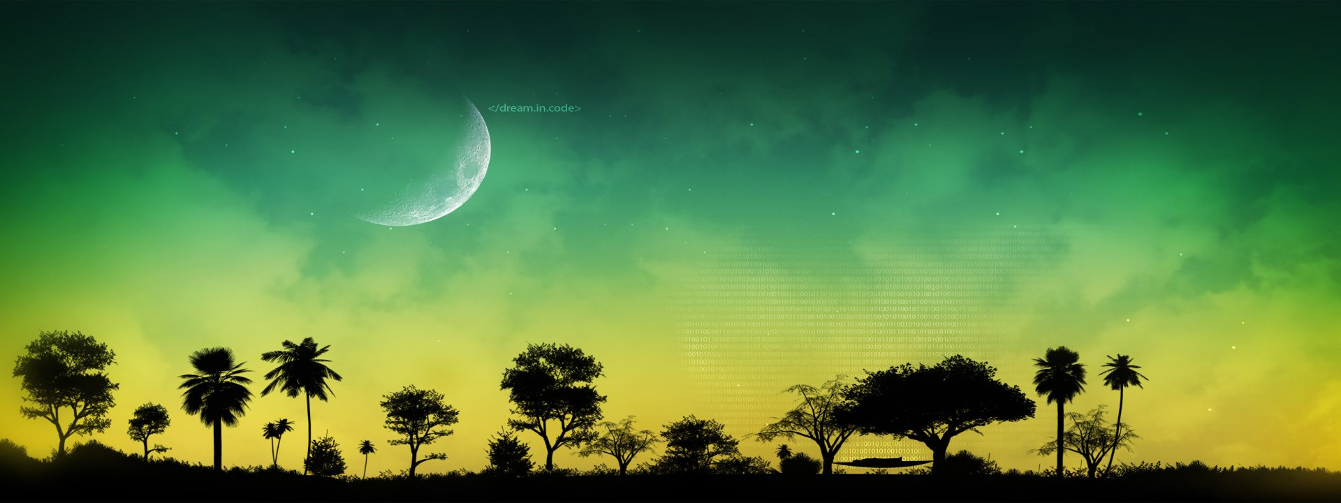 Multi Monitor - Abstract  Landscape Tree Moon Wallpaper