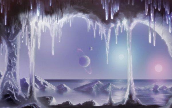 Sciencefiction Planeten Winter Planeet Landschap Oceaan HD Wallpaper   Achtergrond