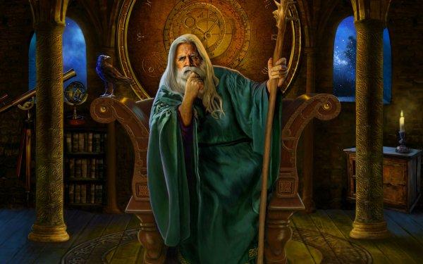 Fantaisie Magicien Throne Télescope Columns Fond d'écran HD | Arrière-Plan