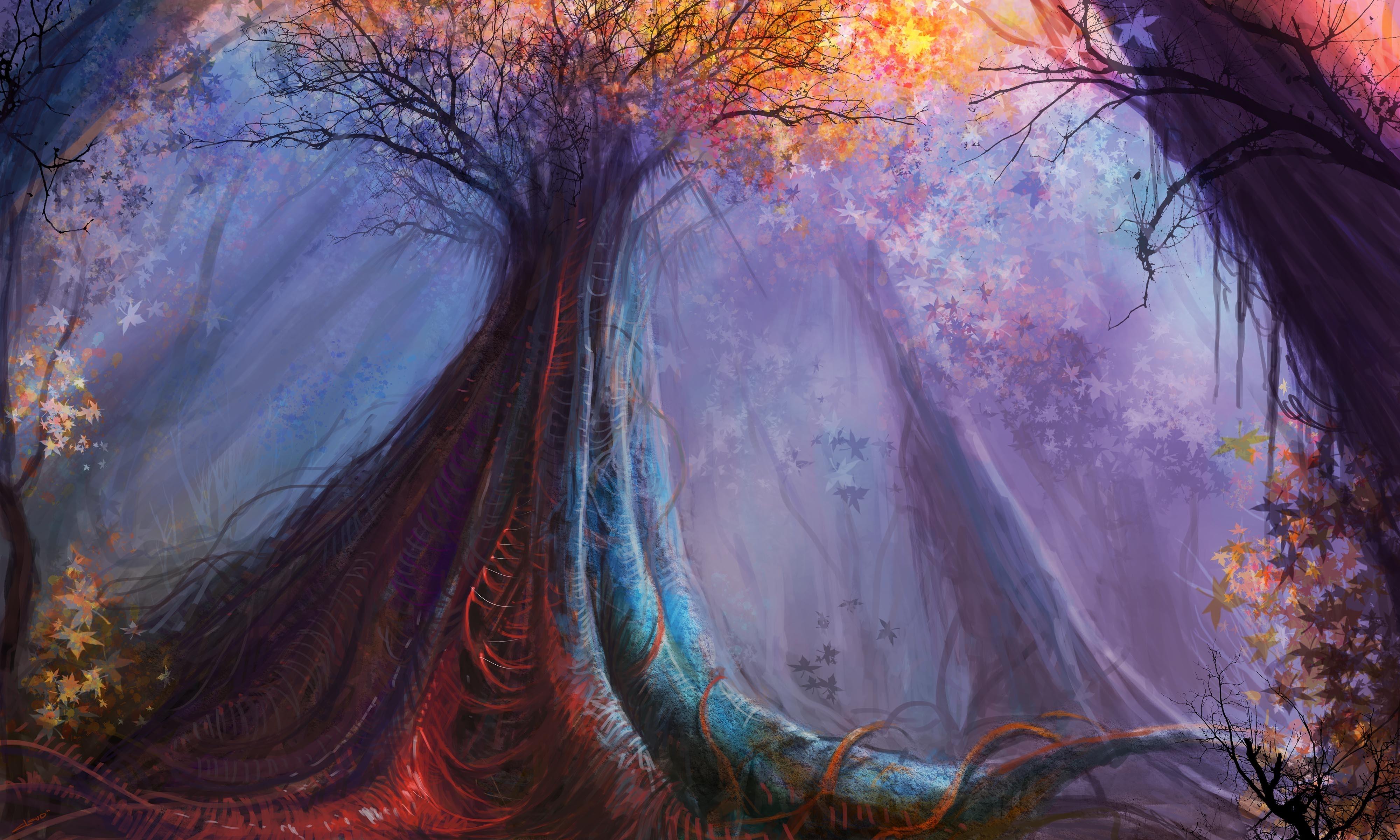 Fantasy - Forest  Tree Fantasy Artistic Fall Leaf Wallpaper