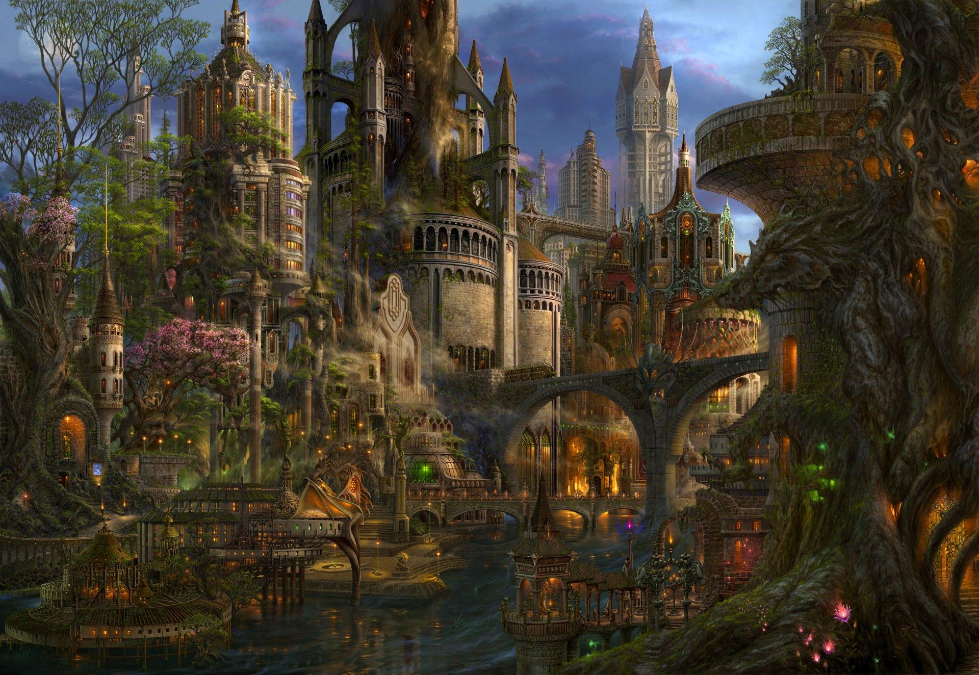 Anime - Original  Anime Landscape Fantasy City Futuristic Colorful Original (Anime) Wallpaper