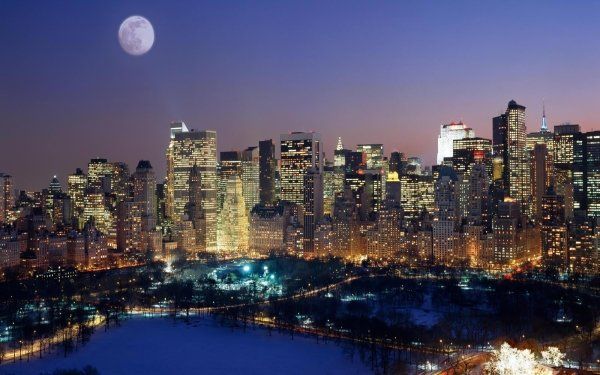 Man Made Manhattan Cities United States City New York Building Moon Central Park HD Wallpaper | Background Image