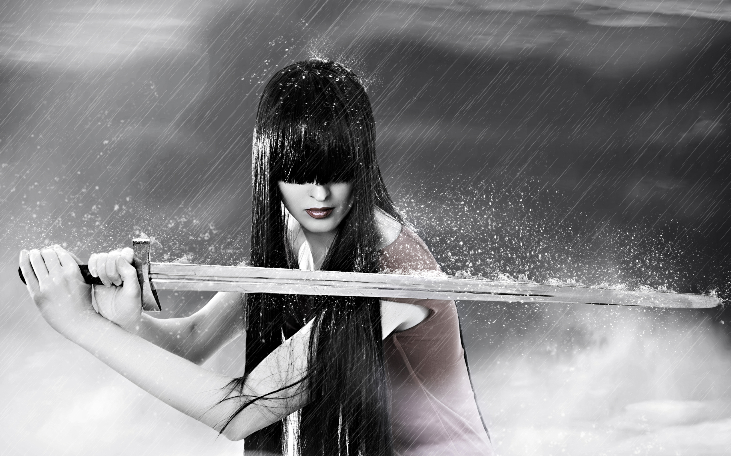 Women Warrior Artwork Sword Rain Cyberpunk Cyberpunk: Women Warrior Full HD Wallpaper And Background Image