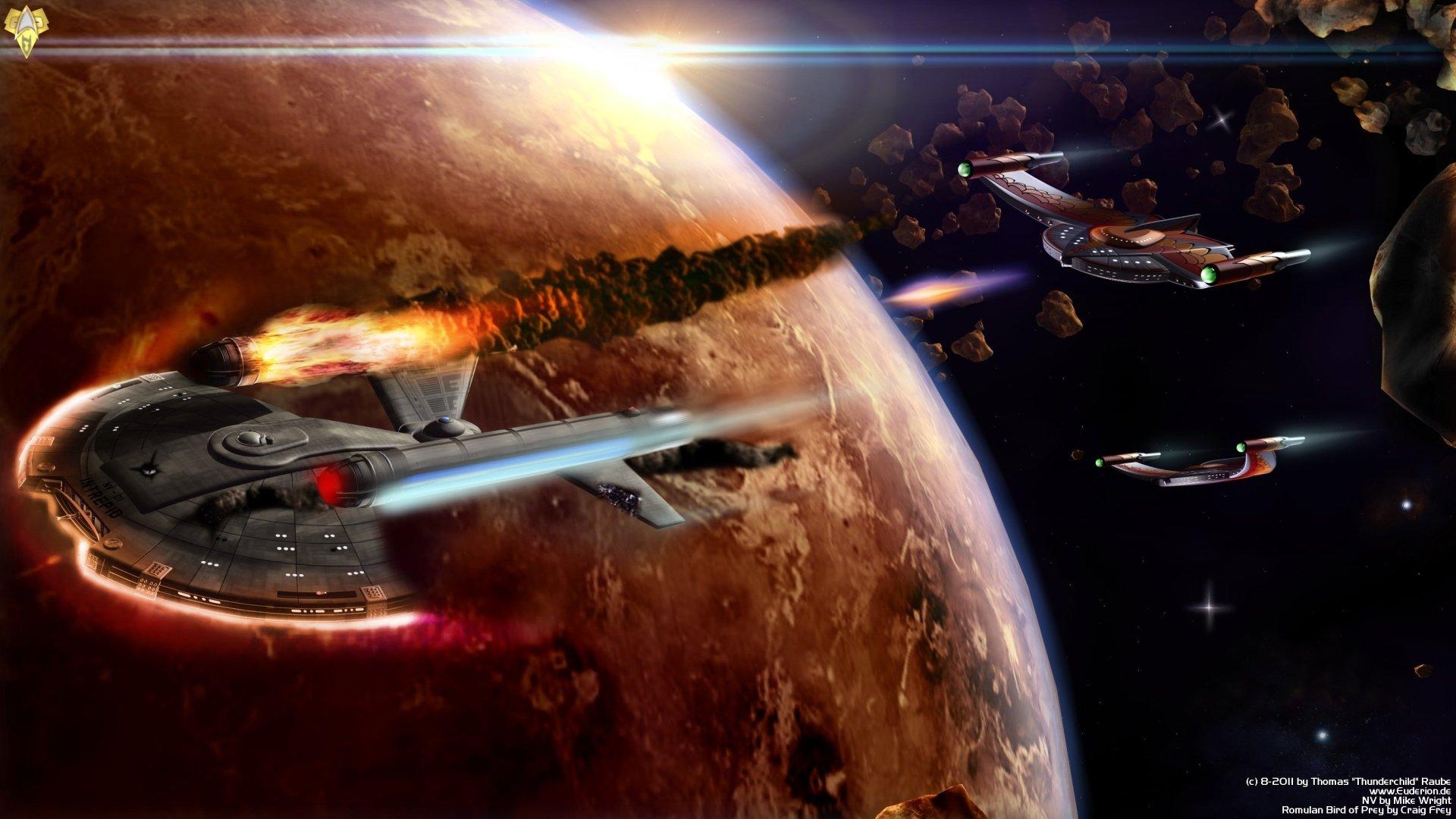 Sci Fi - Star Trek  Enterprise (Star Trek) Sci Fi Bird Of Prey Space Wallpaper