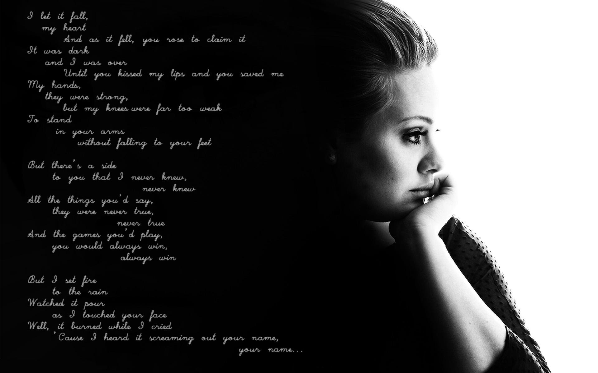 Words From The Song: Set Fire To The Rain HD Wallpaper