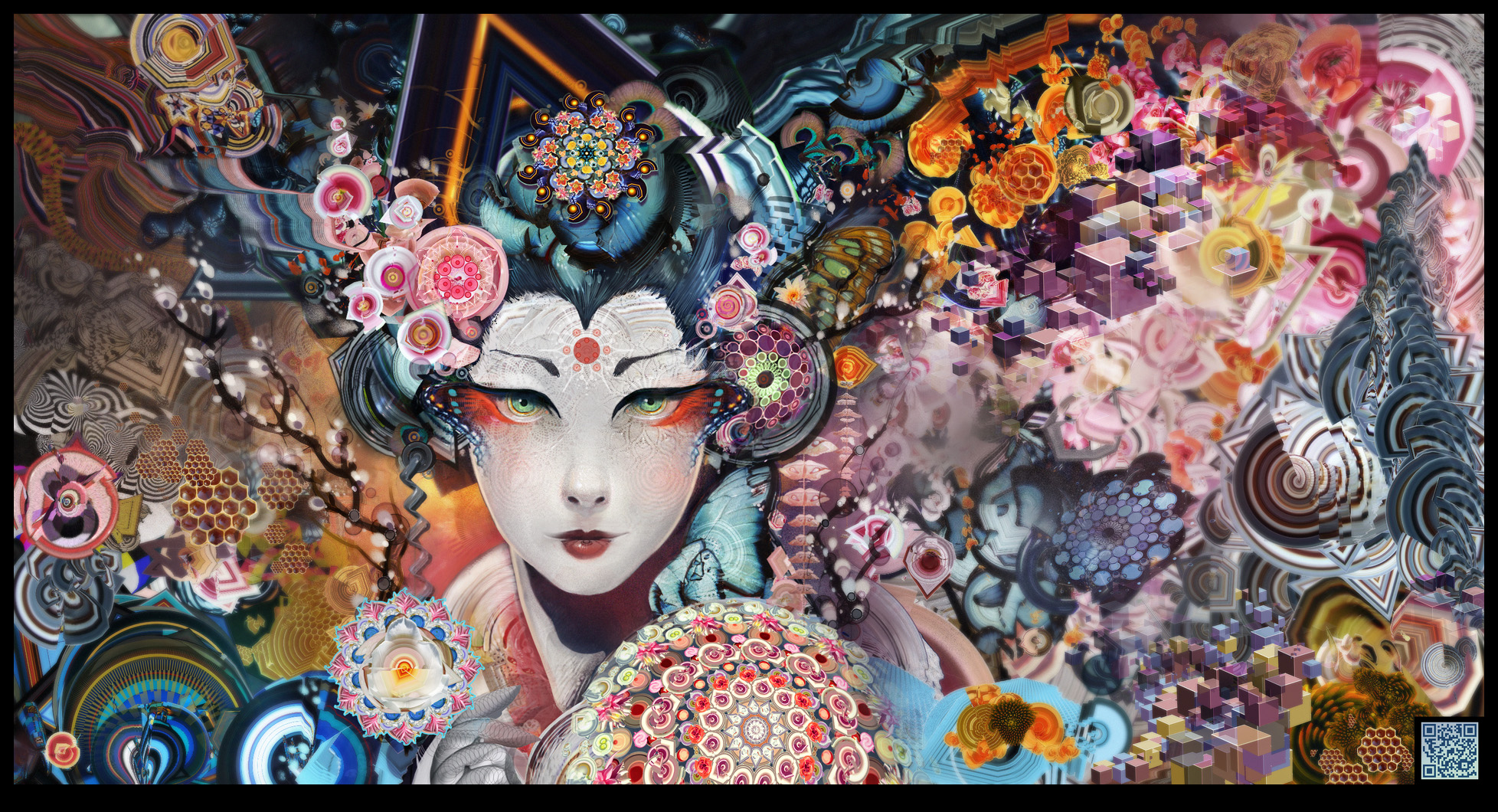 artistic oriental geisha colorful woman wallpaper
