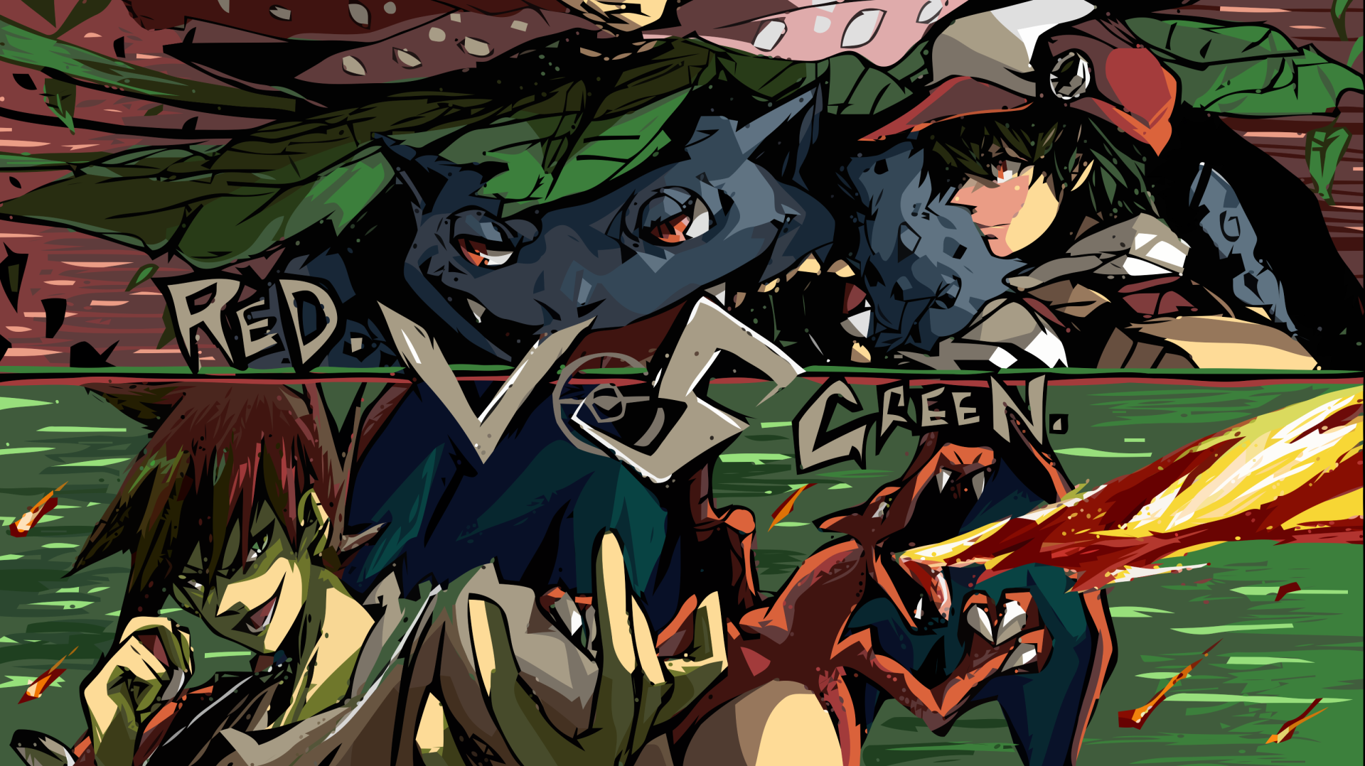 Anime - Pokémon  Venusaur (Pokémon) Red (Pokémon) Green (Pokémon) Charizard (Pokémon) Wallpaper