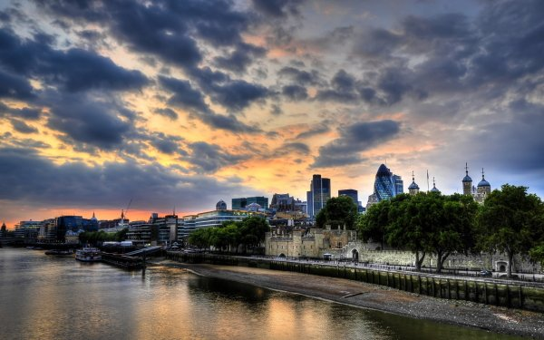 Man Made London Cities United Kingdom England Sunset River Thames Sky Cloud HD Wallpaper | Background Image