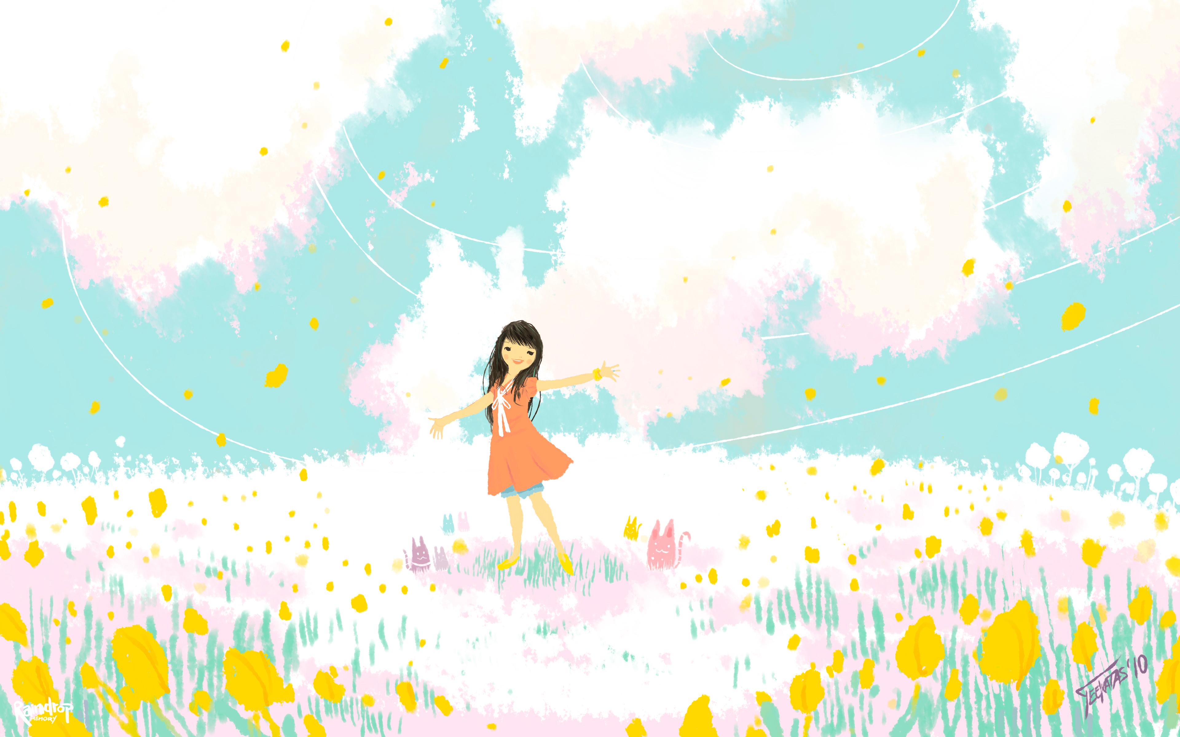 Attrayant Anime   Girl Cartoon Flower Wallpaper