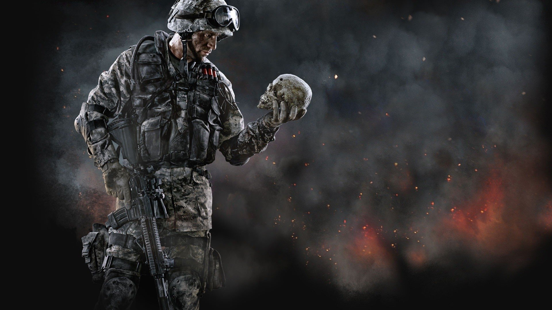 Cool Battlefield 4 Fire Armor In Black Background: Warface Full HD Fond D'écran And Arrière-Plan