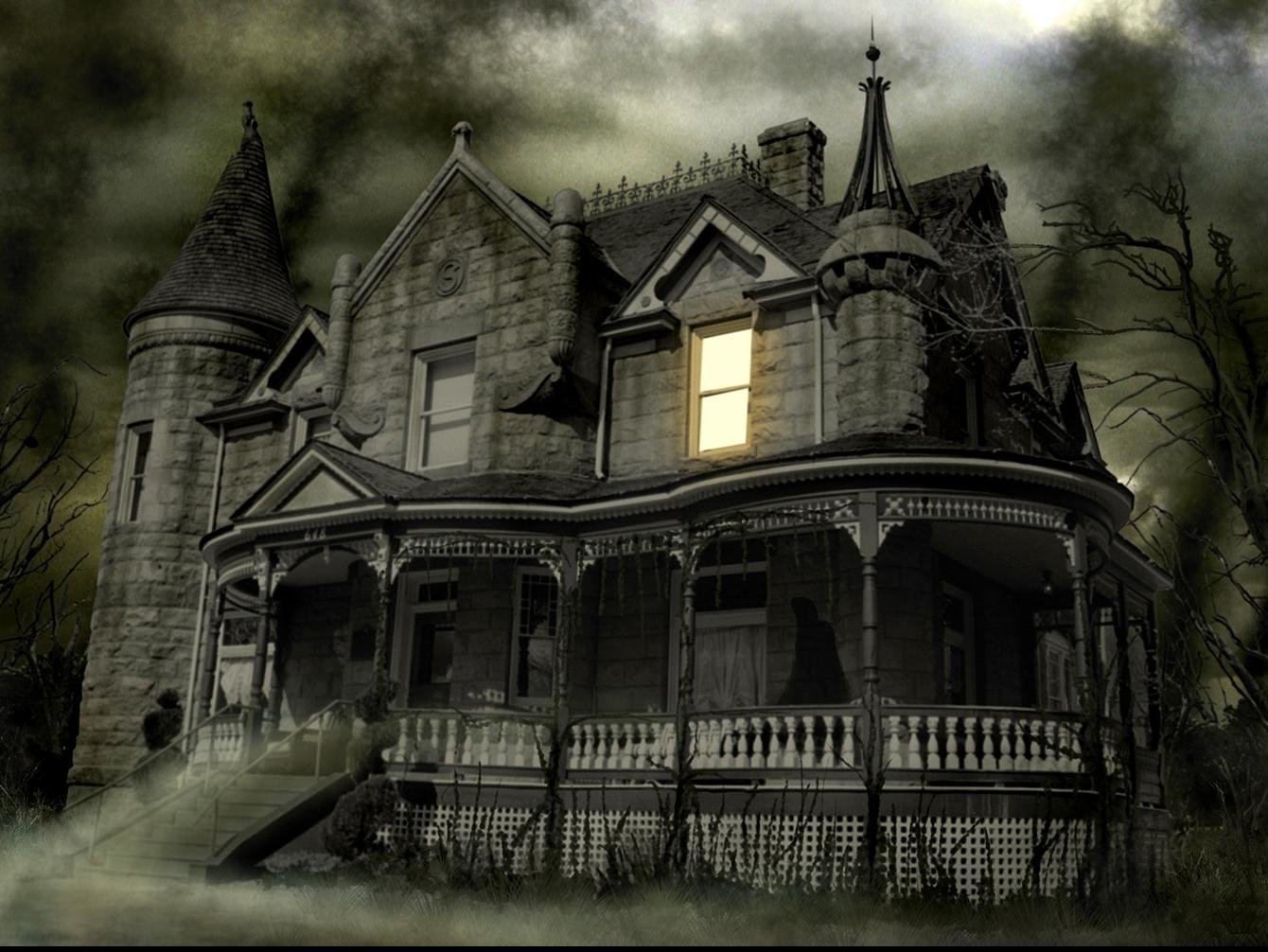 Haunted wallpaper and background image 1340x1006 id 238459 for Wallpaper with houses on