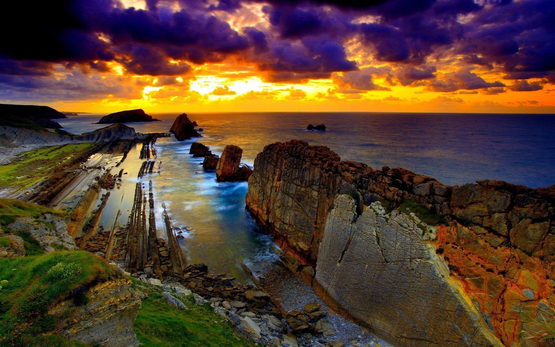 Terre/Nature - Coucher De Soleil  Coast Océan Sea Plage Nuage Ciel Fond d'écran