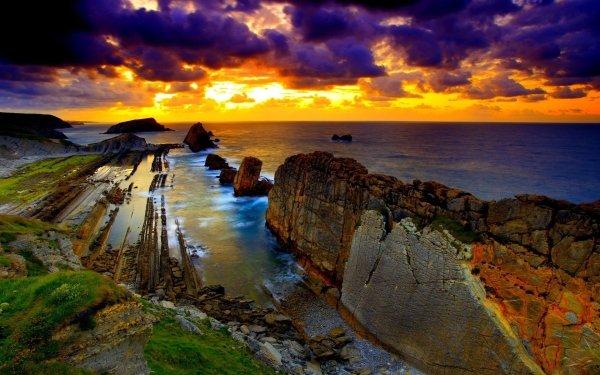Earth Sunset Coast Ocean Sea Beach Cloud Sky HD Wallpaper | Background Image