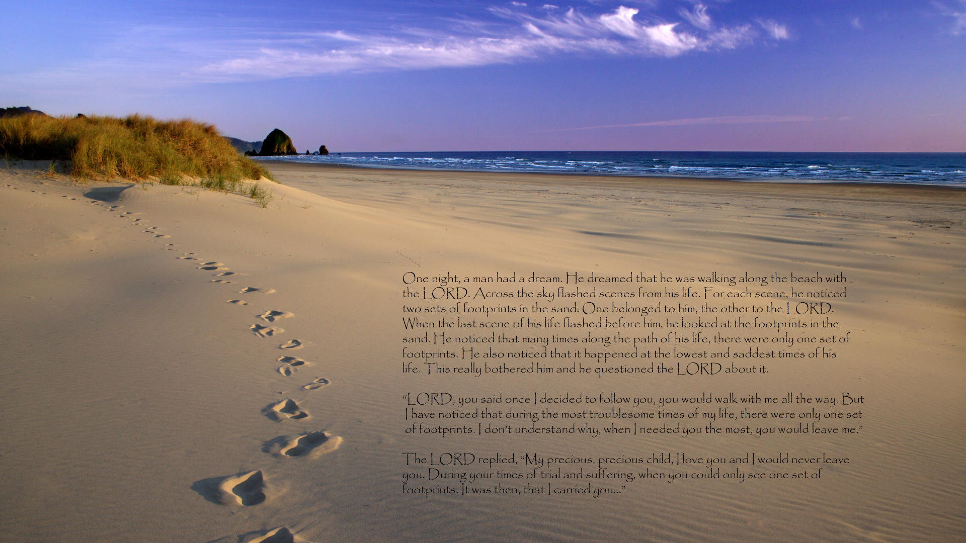 Religious - Christian  -  Love -  Religion -  Sand - Lord - Footprints Wallpaper