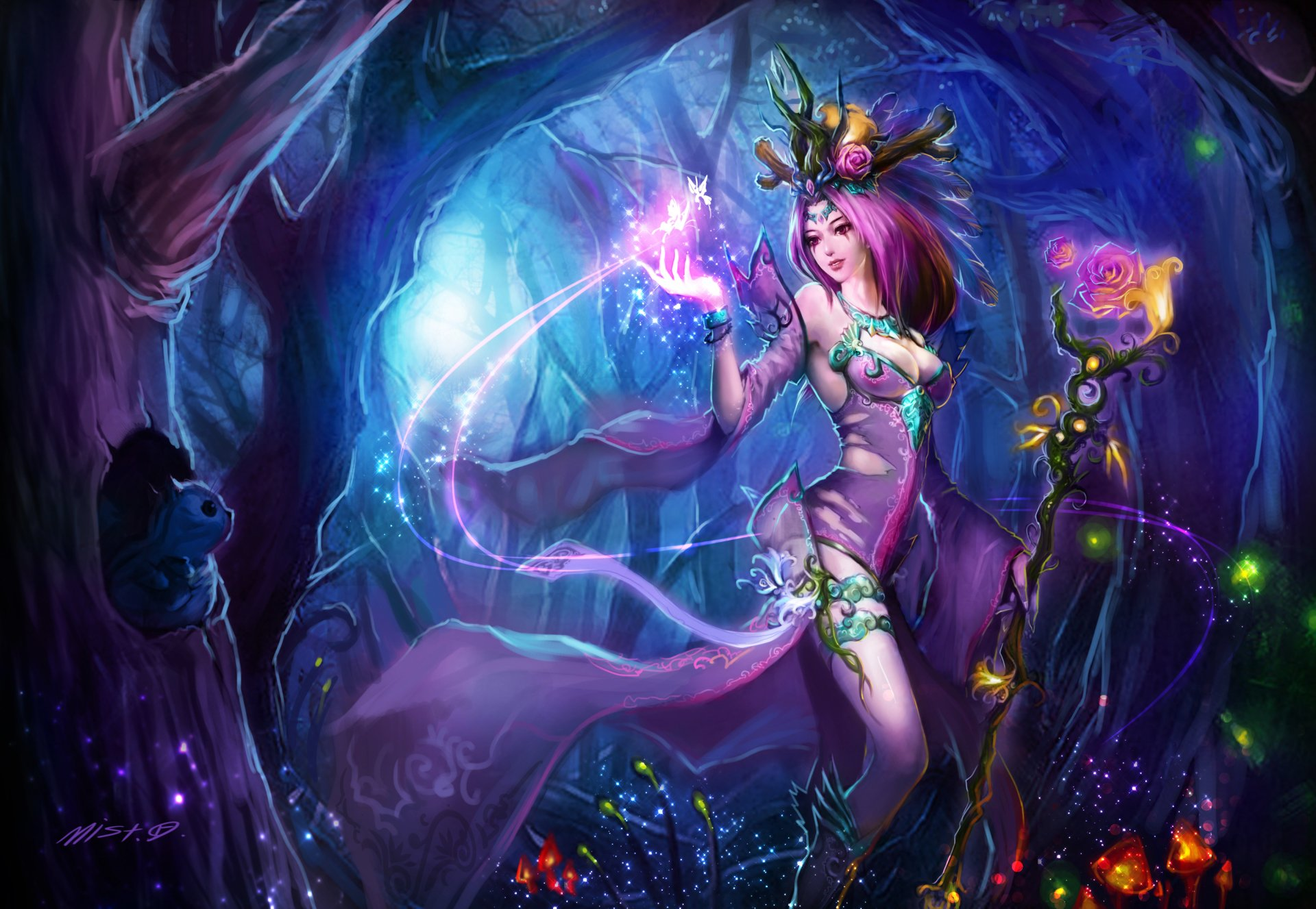 Fantasy - Witch  LeBlanc (League Of Legends) Dark Angel Fairy Colors Wallpaper