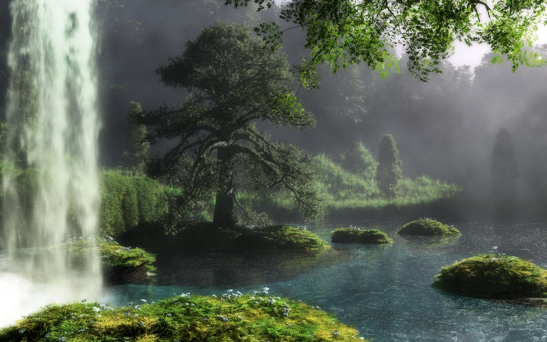 Fantasy - Landscape  Klontak Tree Waterfall River Art Wallpaper