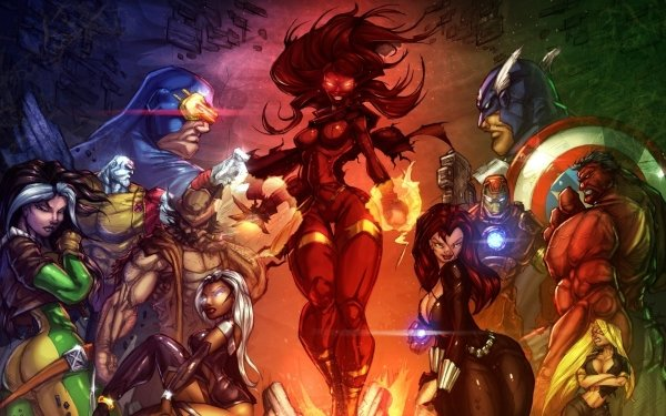Comics avengers vs. X-Men X-Men Rogue Cyclops Capitan América Viuda negra Iron Man Storm Red Hulk Phoenix Hope Summers Logan James Howlett Fondo de pantalla HD | Fondo de Escritorio
