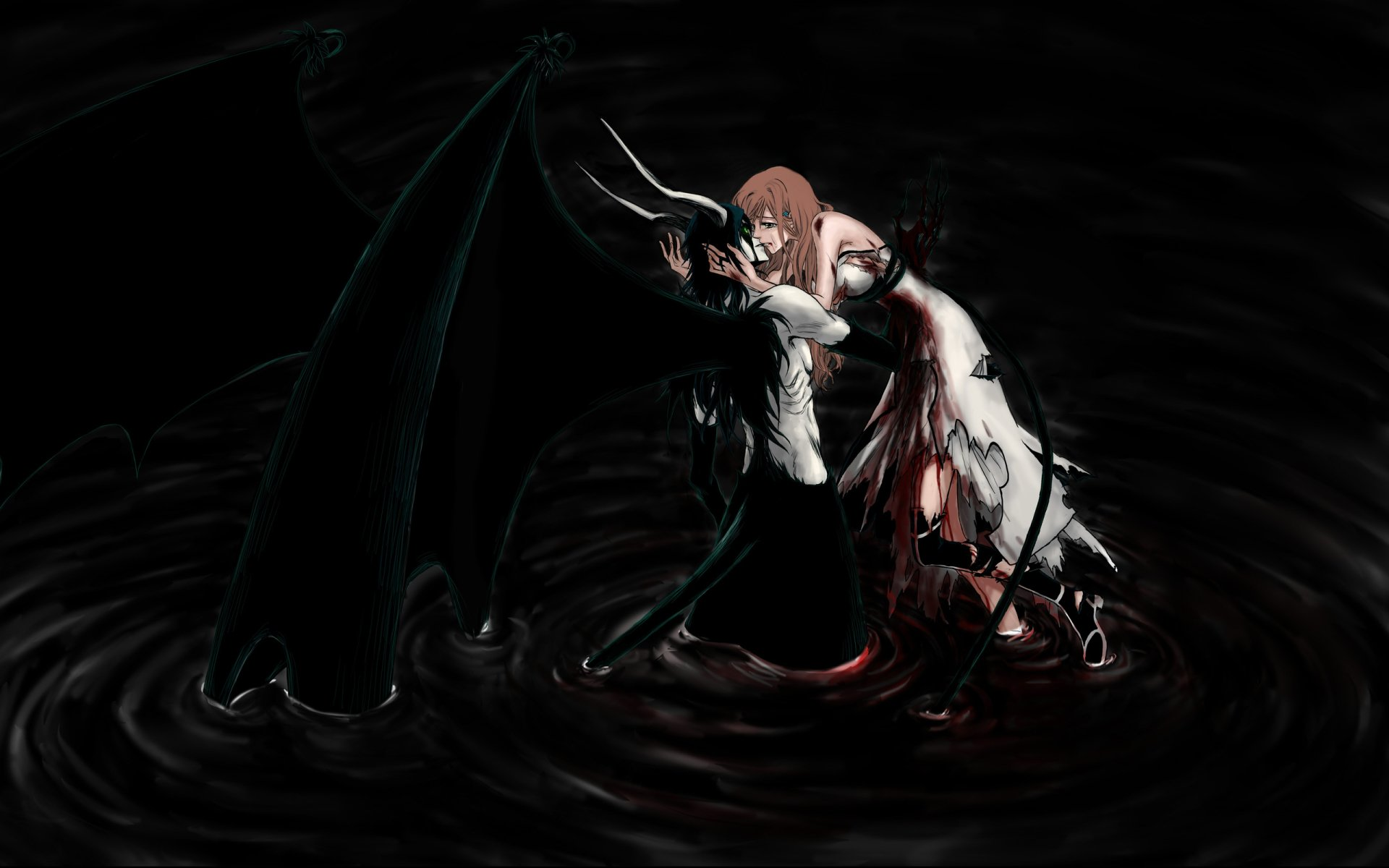 Anime - Bleach  Orihime Inoue Ulquiorra Cifer Wallpaper