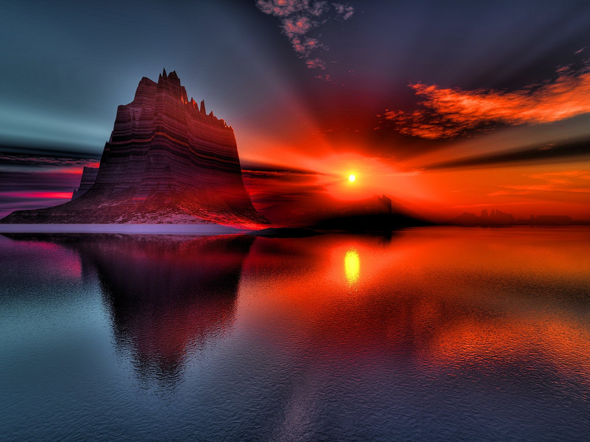 Earth - Sunset  Red Canyon Sun Water Wallpaper