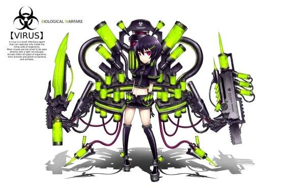 Anime pixiv: Moefication Of Chemicals Green Original Gia Moefication Virus Biological Warfare HD Wallpaper | Background Image