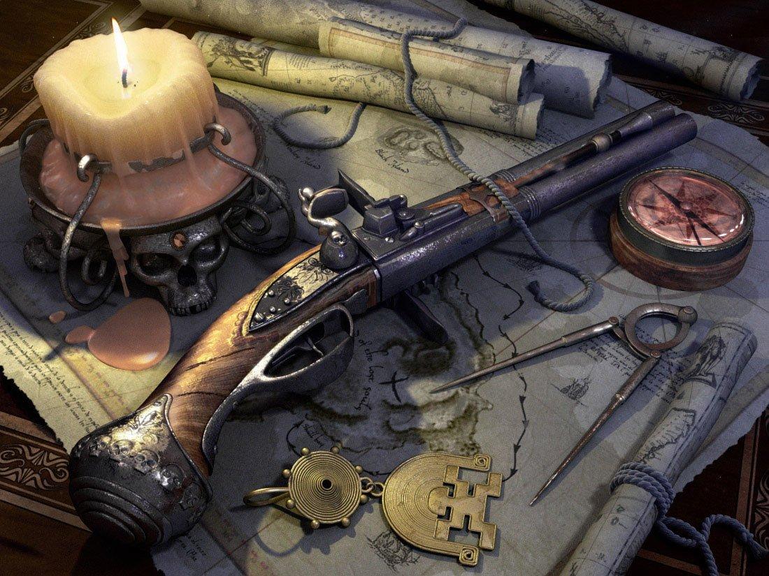 CGI - Real World  Gun Weapon Flintlock Wallpaper