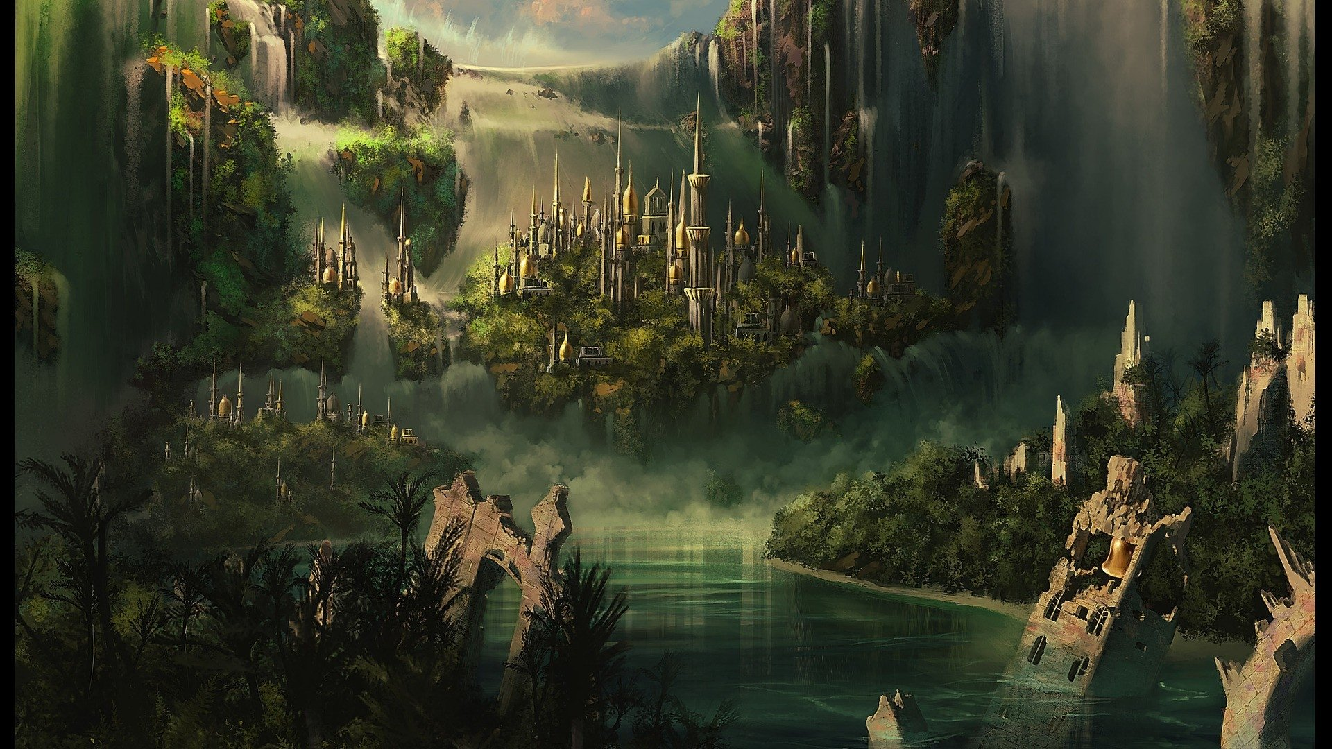Fantasy - Lord Of The Rings  Fantasy City Ruin Castle Wallpaper