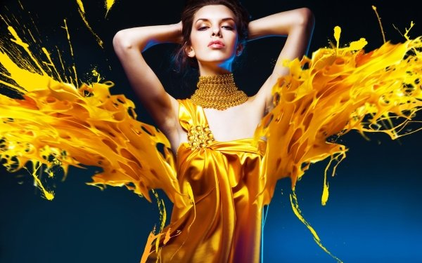 Women Fashion Gold Yellow Necklace HD Wallpaper | Background Image