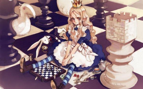 Fantasy Alice In Wonderland Chess HD Wallpaper | Background Image