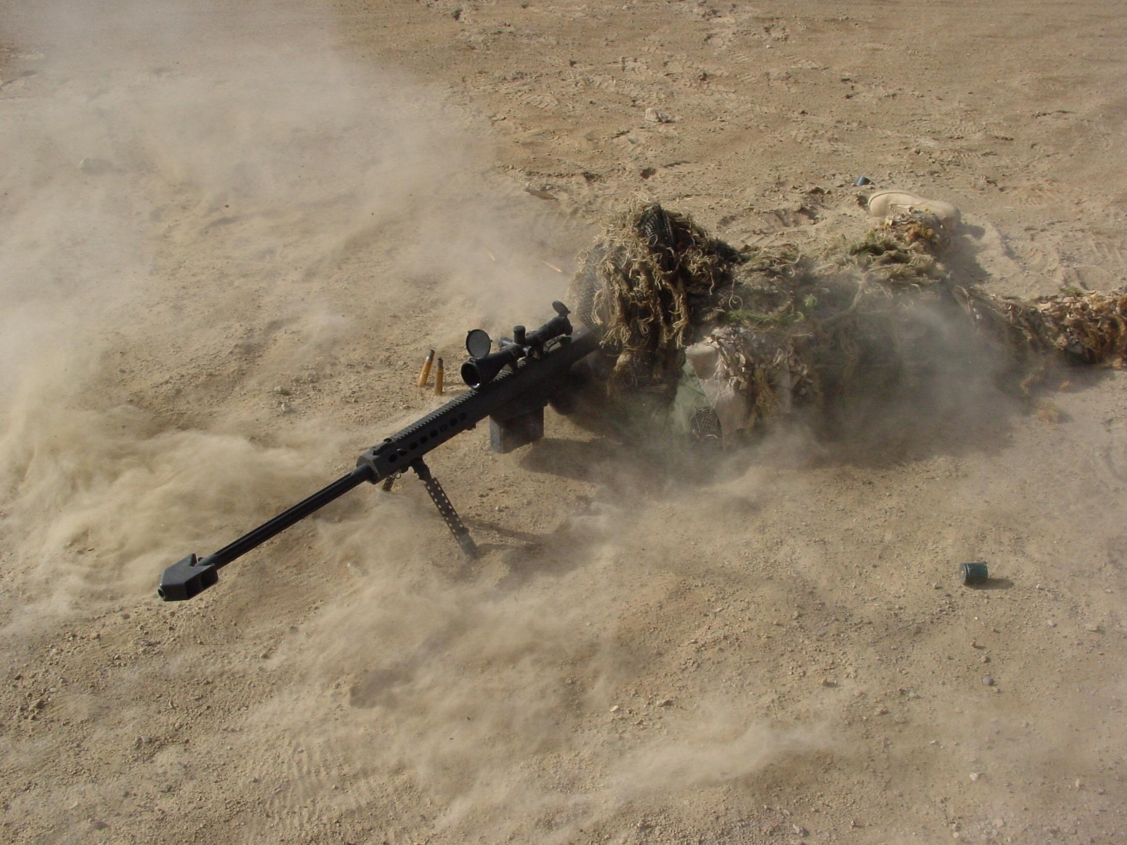Militär - Scharfschütze  - Smoke Check - Barrett - .50 Cal - Ghillie - M82 Hintergrundbild
