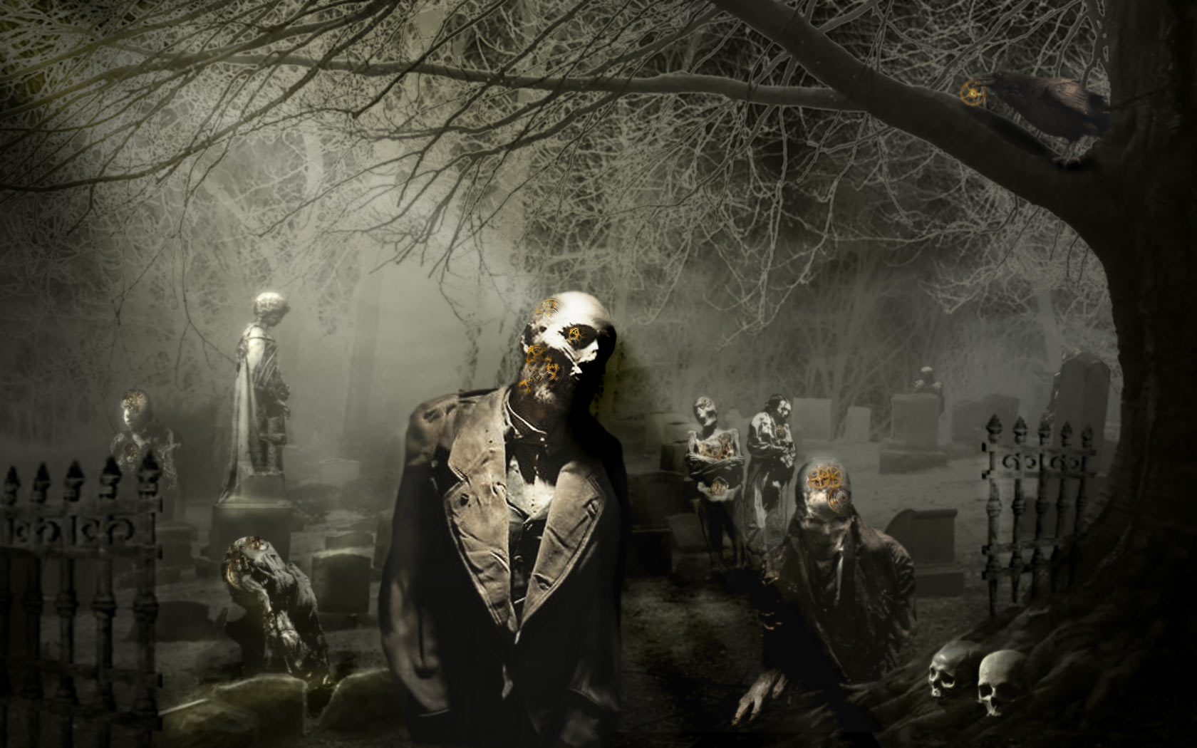 Dark - Zombie  - Graveyard Wallpaper