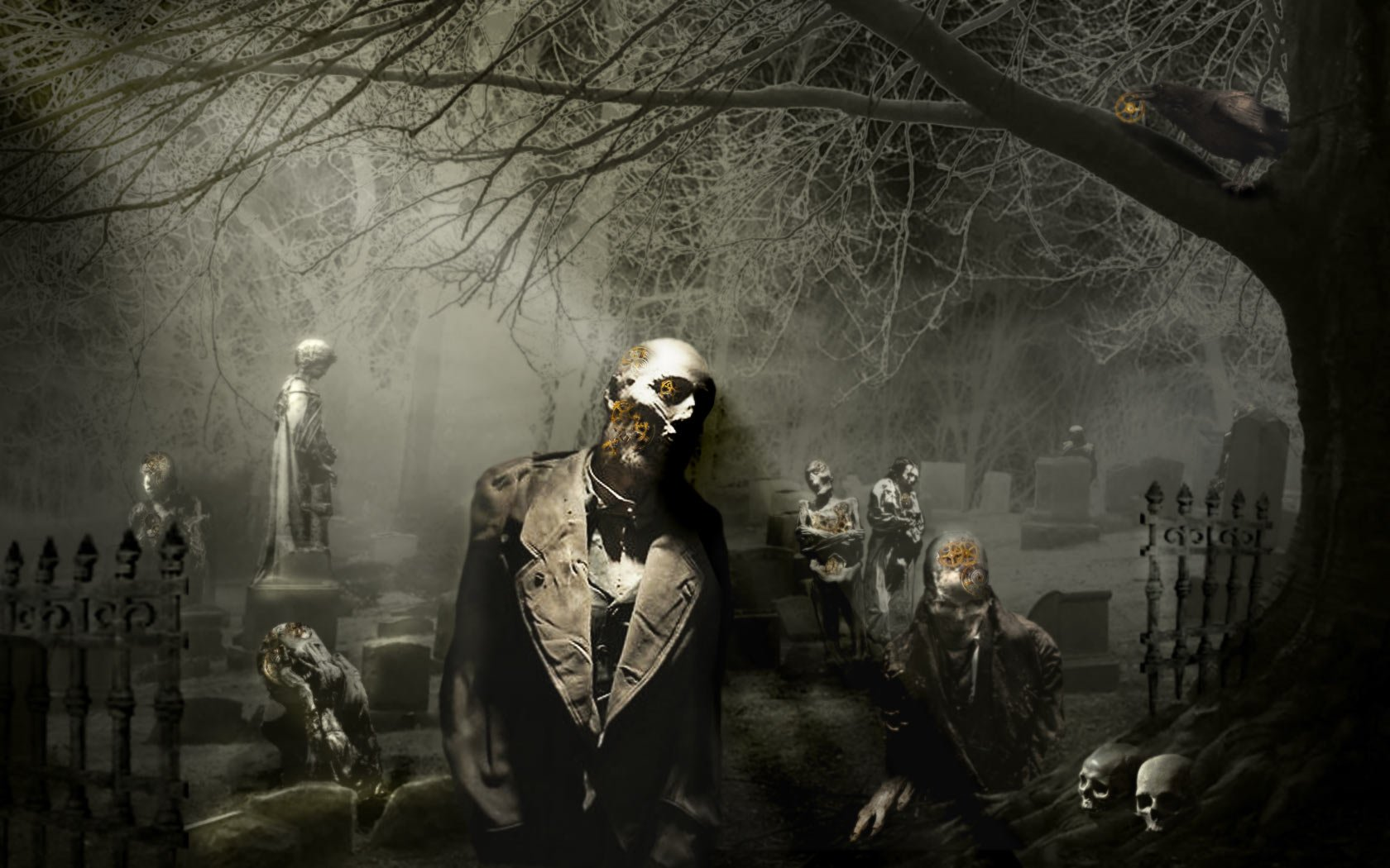 Dark - Zombie  Graveyard Dark Wallpaper